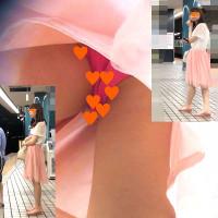 「上品なピンクのスカートを履いたかわいいJDモデルのセクシーなショッキングピンクパンティを狙え!フロントも狙いました!」