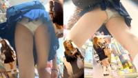 ハロウィン最高!超ミニスカ制服ギャルのパンチラ