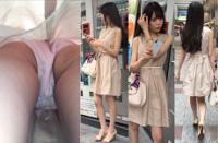 4K 姫系色白超絶美人お姉さん ~生脚スカートをエスカにてめくり逆さ撮りで~