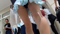 【FHD 60fps動画】花柄ツーピースミニスカギャルの歩きパンチラ(再販売)