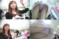ショップ店員さんのパンチラ04 薄紫サテンパンツ
