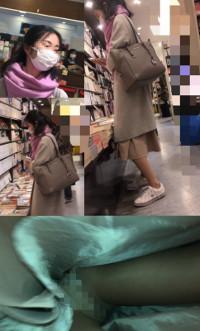 【スマホで逆さ撮り14】キレイめお姉さん 書店にてナチュスト越しのパンティ【素人盗撮】