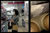 【 スマホで逆さ撮り111】スーツ熟女のスカート内撮影 美脚の黒タイツかと思ったらまさかのニーハイ【素人盗撮】